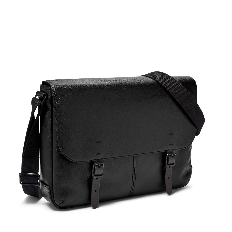 Fossil Buckner Leather Messenger Bag (Black)