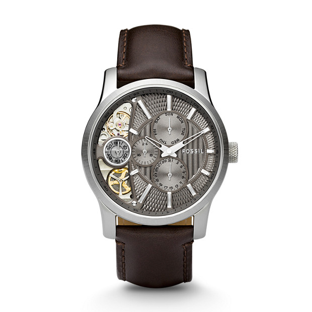 Mechanical Twist Brown Leather Watch