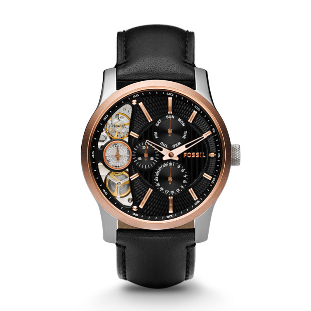 Mechanical Twist Black Leather Watch