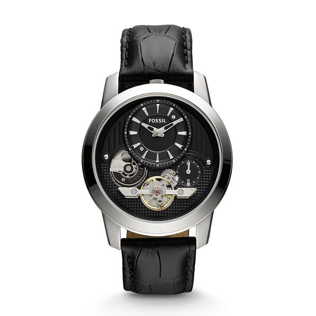 Grant Twist Leather Watch – Black