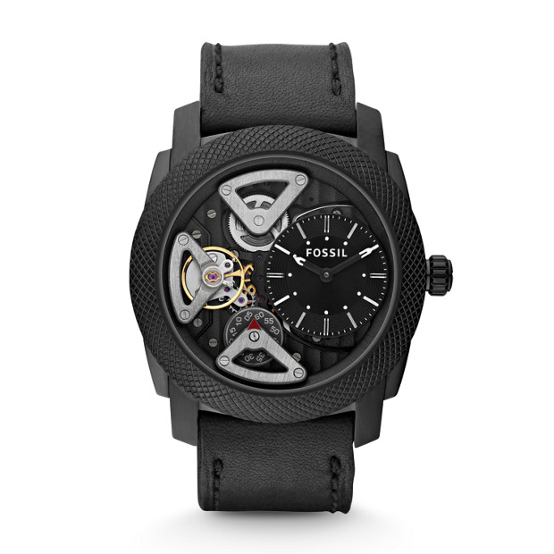 Machine Twist Black Leather Watch