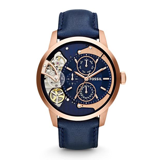 Townsman Multifunction Leather Watch - Blue