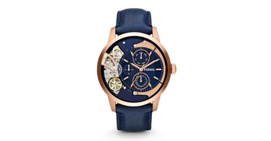 fdf271d28c69 Townsman Multifunction Navy Leather Watch - Fossil