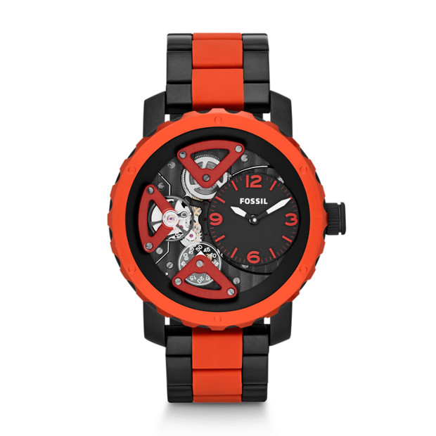 Nate Multifunction Silicone Watch - Black and Red