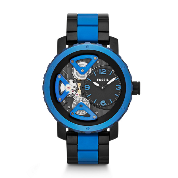 Nate Multifunction Silicone Watch - Black and Blue