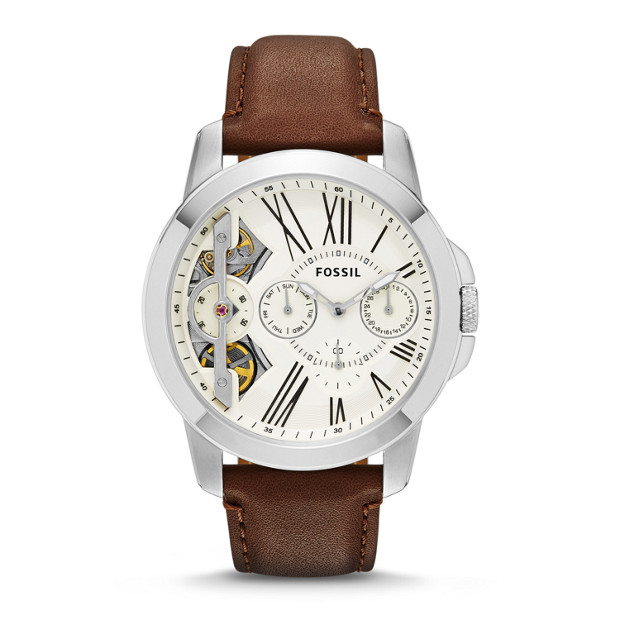 Grant Twist Multifunction Brown Leather Watch