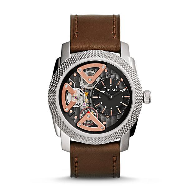 Machine Twist Brown Leather Watch