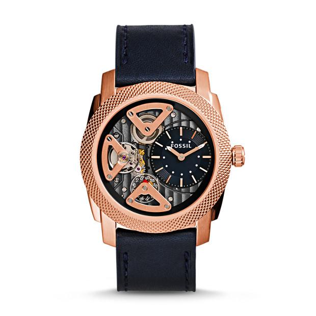 Machine Twist Navy Leather Watch
