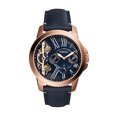 Grant Twist Three-Hand Blue Leather Watch