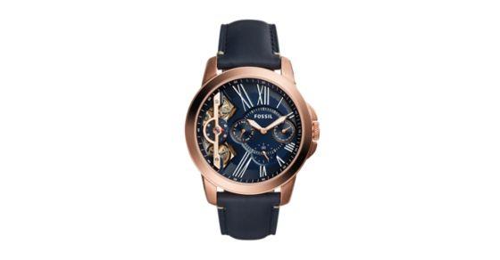 a7ffd4dd5 Grant Twist Three-Hand Blue Leather Watch - Fossil
