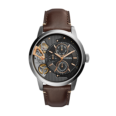 Townsman Twist Multifunction Dark Brown Leather Watch