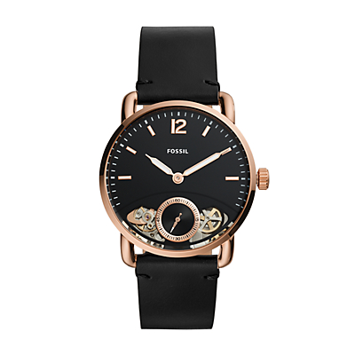 The Commuter Twist Black Leather Watch