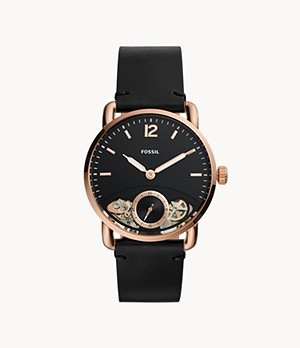 Herrenuhr The Commuter Twist Leder Schwarz