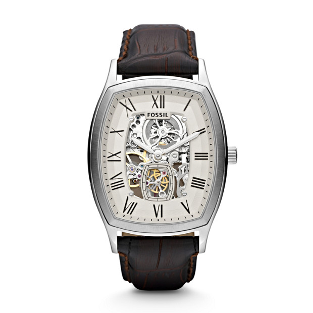 Ansel Automatic Leather Watch - Brown