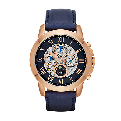 Grant Automatic Navy Leather Watch
