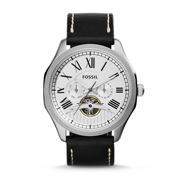 Foreman Multifunction Automatic Black Leather Watch
