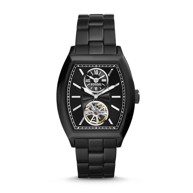 Narrator Two-Hand Automatic Stainless Steel Watch - Black
