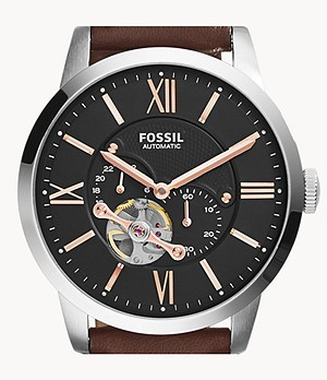 Townsman Automatic Leather Watch Brown