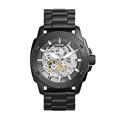 Modern Machine Automatic Black Stainless Steel Watch