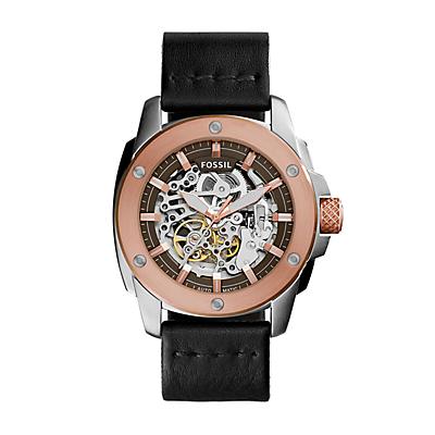 Modern Machine Automatic Black Leather Watch