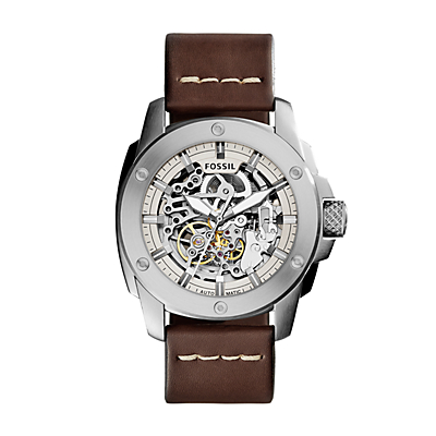 Modern Machine Automatic Brown Leather Watch