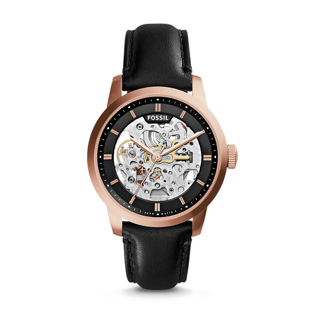 Townsman Automatic Black Leather Watch Fossil