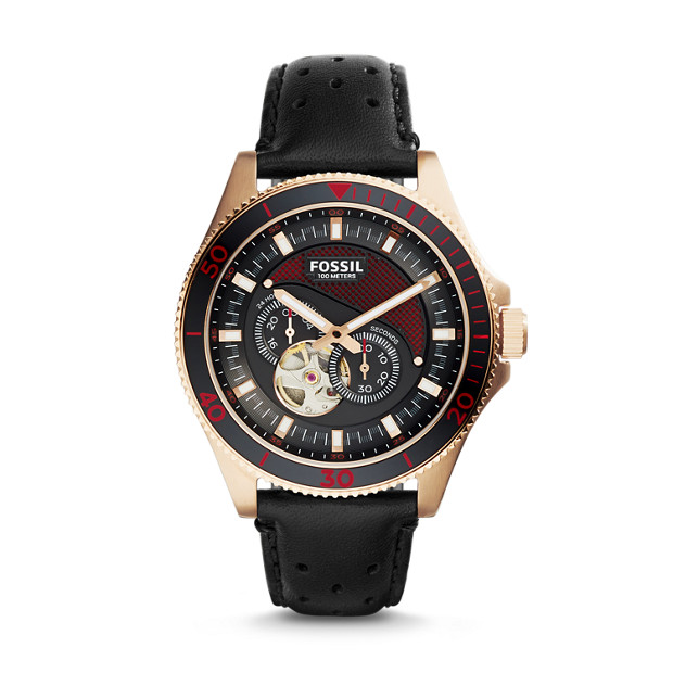 Wakefield Automatic Black Leather Watch