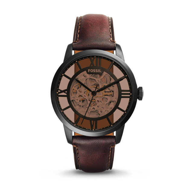 townsman automatic dark brown leather watch fossil. Black Bedroom Furniture Sets. Home Design Ideas