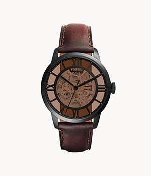 Montre Townsman automatique en cuir marron