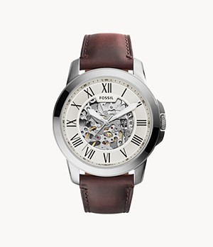 Montre Grant automatique en cuir marron