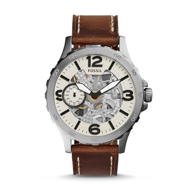Nate Automatic Dark Brown Leather Watch