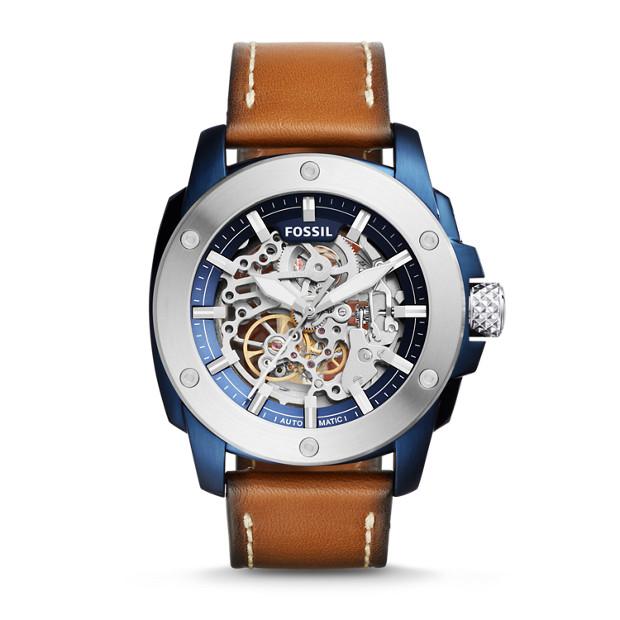 Modern Machine Sport Automatic Dark Brown Leather Watch
