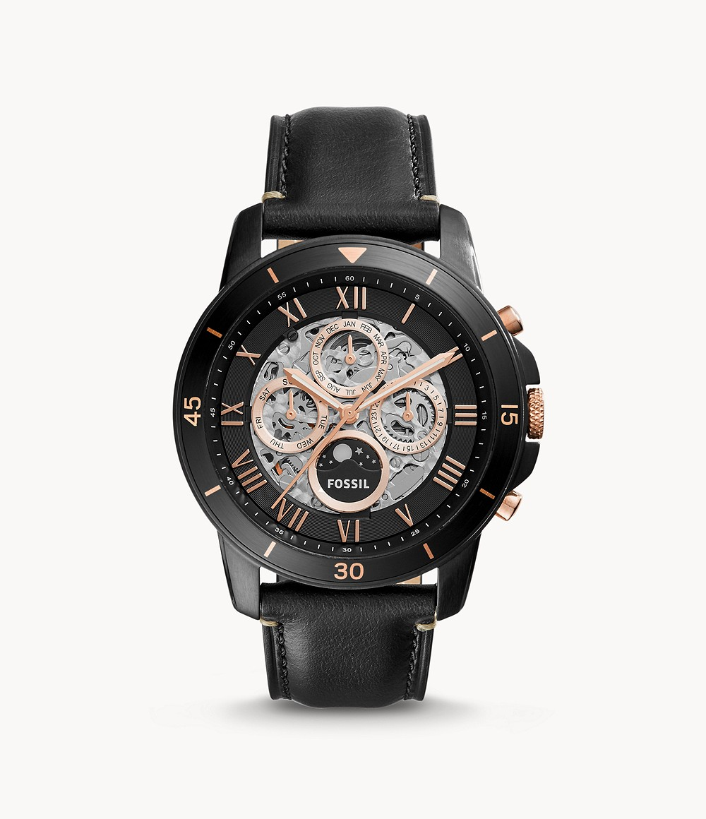 Grant Sport Automatic Black Leather Watch - ME3138 - Fossil