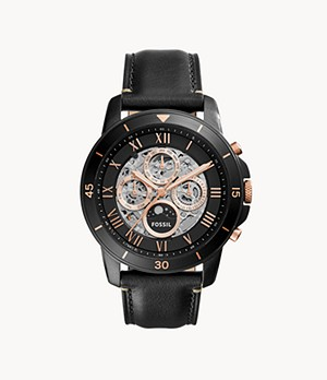 Grant Sport Automatic Black Leather Watch
