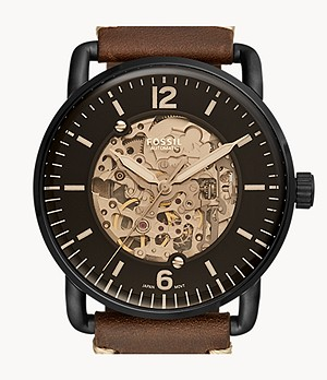 Montre automatique Commuter en cuir marron