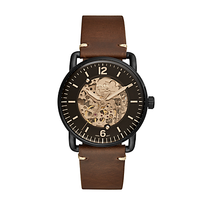 Commuter Automatic Brown Leather Watch