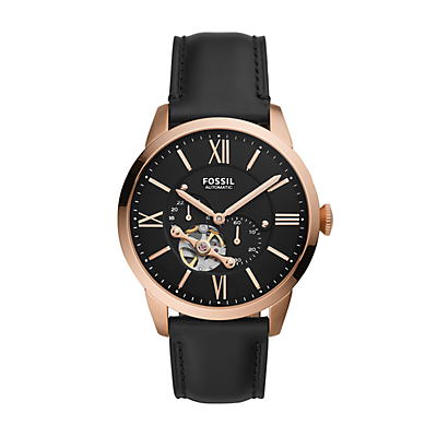 Townsman Automatic Black Leather Watch
