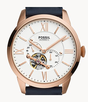 Townsman Automatic Navy Leather Watch