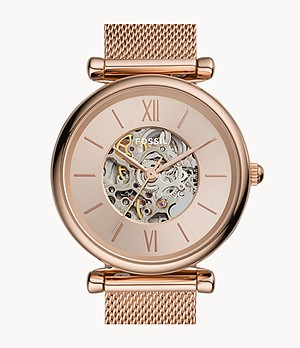 Montre Carlie automatique en maille milanaise inoxydable doré rose