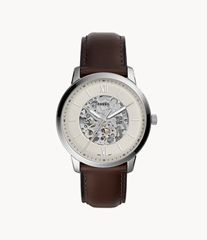 Montre Neutra automatique en cuir brun