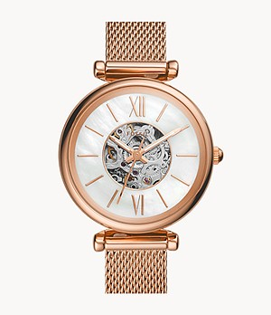 Carlie Mini Automatic Rose Gold-Tone Stainless Steel Mesh Watch
