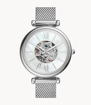 Carlie Mini Automatic Stainless Steel Mesh Watch