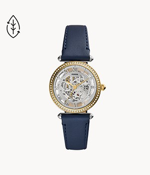 Lyric Automatic Navy Leather Watch
