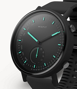 Misfit Command 45mm Black with Black Silicone Strap