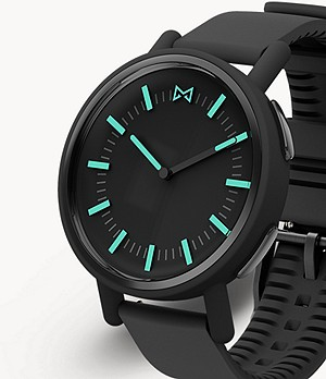 Misfit Path 36mm Black with Black Silicone Strap