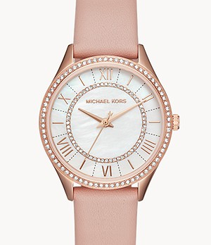 Michael Kors Women's Lauryn Three-Hand Pink Leather Watch