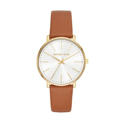 Michael Kors Women's Gold-tone And Luggage Leather Pyper Watch - MK2740 - Watch Station