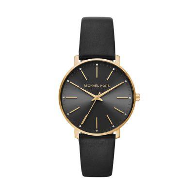 Michael Kors Women's Pyper Three-Hand Black Leather Watch - MK2747 - Watch Station