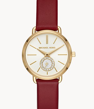 Michael Kors Women's Petite Portia Three-Hand Merlot Leather Watch
