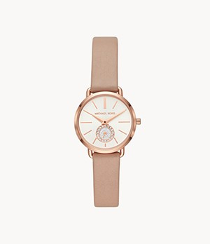 Michael Kors Women's Petite Portia Three-Hand Mocha Leather Watch